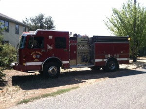 Cal Fire truck in front yard