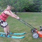 etc guy lawnmower skiing